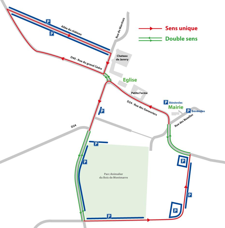 plan de circulation et parking janvry